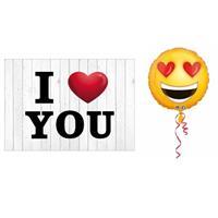 Bellatio Valentijnskaart met helium ballon smiley hartjesogen 43 cm