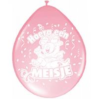 Folat 16x Ballonnen geboorte meisje baby thema Roze