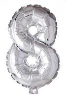 Haza Original folieballon cijfer 8 zilver cm