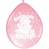 Folat 24x Ballonnen geboorte meisje baby thema Roze