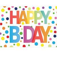 Bellatio 5x Verjaardagskaart Happy Birthday met gekleurde stippen Multi