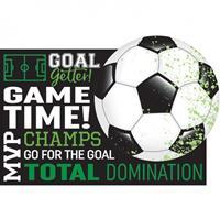 Amscan uitnodigingen Soccer Goal Getter groen 8 stuks