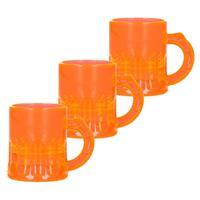 12x Shotglaasjes fluor oranje met handvat 2cl Oranje