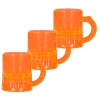 12x Shotglaasjes fluor oranje met handvat 2,5cl Oranje