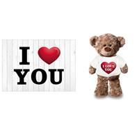 Bellatio I Love You Valentijnskaart met I love you knuffelbeertje Multi