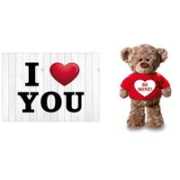 Bellatio I Love You Valentijnskaart met Be Mine knuffelbeer 24 cm