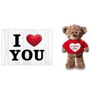 Bellatio I Love You Valentijnskaart met knuffelbeer in rood shirtje 24 cm