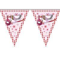 Folat 5x stuks Vlaggenlijn geboorte meisje 6 meter feestartikelen Roze
