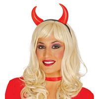 2x Diademen/haarbanden met duivel hoorntjes Rood
