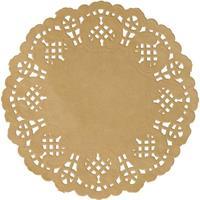 10x Bruiloft naturel ronde placemats 35 cm papier kant uiterlijk Bruin