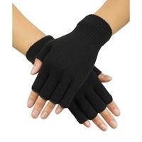 Zwarte handschoenen vingerloos gebreid voor volwassenen