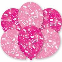 Roze geboorte ballonnen meisje 12x stuks Roze