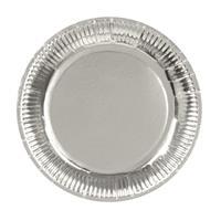 12x Zilveren feest borden van karton 23 cm Zilver
