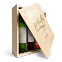 YourSurprise Wijnpakket in kist - Belvy - Wit, rood en rosé