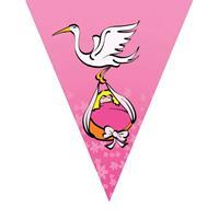 Set van 3x stuks geboorte thema vlaggenlijn roze en ooievaar Roze