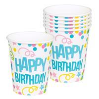 Boland feestbekers Happy Birthday 25cl karton 6 stuks