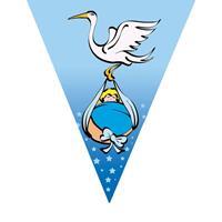 3x stuks geboorte feest vlaggenlijnen blauw met ooievaar 5 meter Blauw
