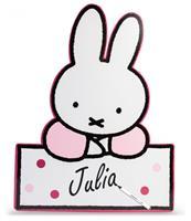 Haza Original geboortebord Nijntje baby papier 60 cm wit/roze