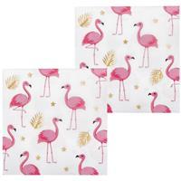 Servetten Flamingo goud wit roze 12 stuks