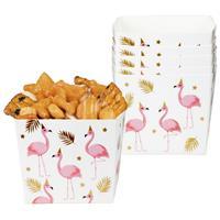 Snackbakjes Flamingo goud wit roze 6 stuks