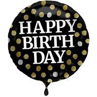 Folie ballon Gefeliciteerd/ Happy Birthday zwart met stippen 45 cm met helium gevuld Multi