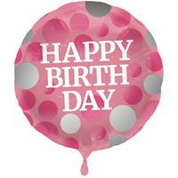 Folie ballon Gefeliciteerd/Happy Birthday roze met stippen 45 cm met helium gevuld Multi