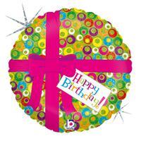 Folie ballon Gefeliciteerd/Happy Birthday roze strik 46 cm met helium gevuld Multi