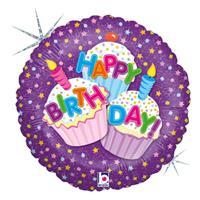 Folie ballon Gefeliciteerd/Happy Birthday cup cakes 46 cm met helium gevuld Multi