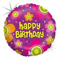 Folie ballon Gefeliciteerd/Happy Birthday bloemen 46 cm met helium gevuld Multi