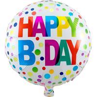 Folie ballon Gefeliciteerd/Happy Birthday gekleurde stippen 45 cm met helium gevuld Multi
