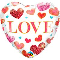 Folie ballon Love hart met hartjes 45 cm met helium gevuld Multi