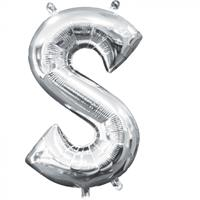Amscan folieballon letter S 20 x 33 cm zilver