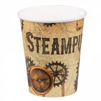 Boland bekertjes Steampunk 250 ml papier bruin 6 stuks