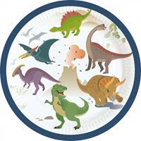 Amscan bordjes dinosaurussen jongens 17,7 cm papier wit 8 stuks