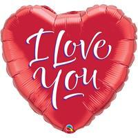 Folie ballon I Love You hart rood 46 cm met helium gevuld Multi