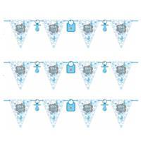 Folat 3x stuks vlaggenlijnen geboorte jongen thema 6 meter Blauw
