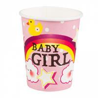 Boland bekers Baby girl meisjes 250 ml papier roze 6 stuks