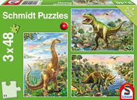 schmidt Avontuur met Dinosauriers 3 x 48 stukjes - Puzzel
