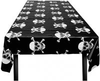Boland tafelkleed doodshoofd 180 cm polyester zwart/wit