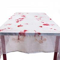 Boland tafelkleed Bloody 150 x 180 cm polyester wit/rood