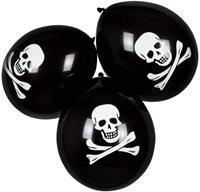 Boland ballonen doodshoofd 25 cm latex zwart/wit 6 stuks