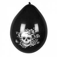 Boland ballonnen Día de los Muertos 25 cm latex zwart/wit
