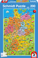 schmidt Getekende kaart van Duitsland 200 stukjes - Puzzel