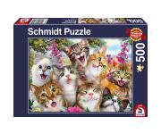 schmidt Katten Selfie 500 stukjes - Puzzel