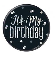Unique badge It's my birthday 5,5 cm zwart/zilver