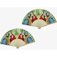 2x stuks spaanse handwaaiers met papegaaien - Verkleedattributen
