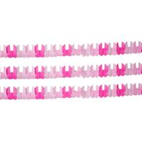 Folat Set van 3x stuks roze baby geboorte meisjes thema slingers met wiegjes - Feestslingers