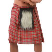 Set van 4x stuks Schotse verkleed rokken/kilts rood met bontje voor heren