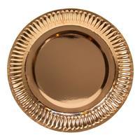 8x Rose gouden feest borden van karton 23 cm - Feestbordjes