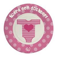 24x stuks Wegwerp bordjes karton geboorte dochter/meisje 18 cm - Feestbordjes